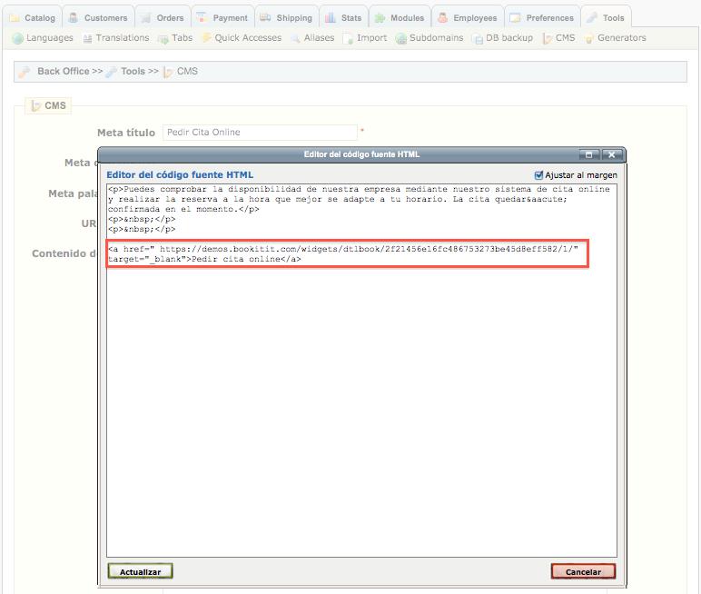 TutorialPrestashop4 Cómo integrar el sistema de reservas online y cita previa de Bookitit en Prestashop